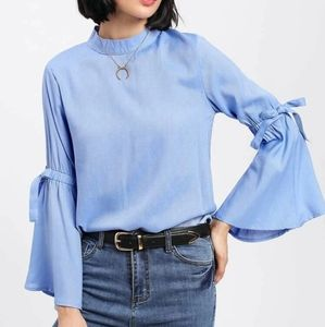 Zara Chambray Bell Sleeve Blouse Button down Back